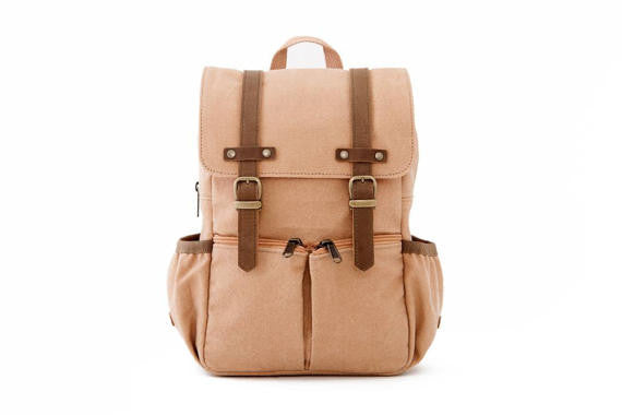 Kid's Canvas City Backpack in Tan by Oliday