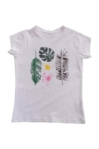 Nui Organics Girl's White Tropical T-Shirt