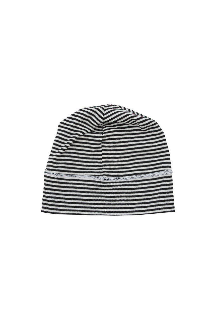 Merino Wool Beanie in Black & White Stripe by Nui Organics