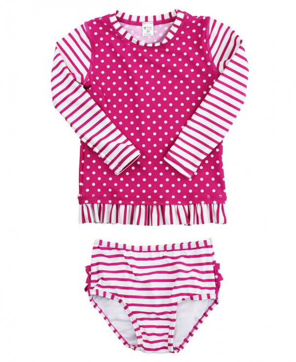 Stripes and Polka-Dots Girl's Long-Sleeve Rash Guard Swimsuit Berry