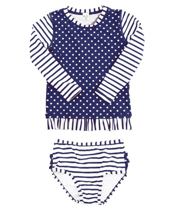 Stripes and Polka-Dots Girl's Long-Sleeve Rash Guard Swimsuit Navy