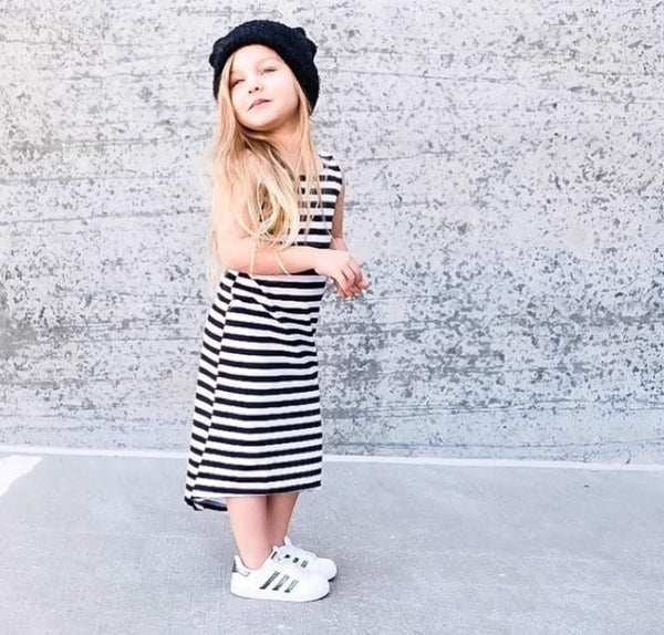 Black and White Stripe Maxi Dress by Little Foot Clothing Co. Handmade in LA