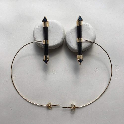 Black Tourmaline Hoops