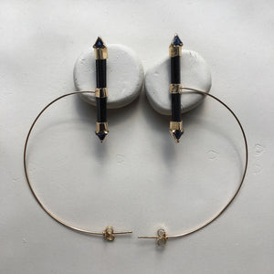 Black Tourmaline Orbit  Hoops