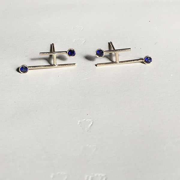 Aligned Gem Stud Earrings