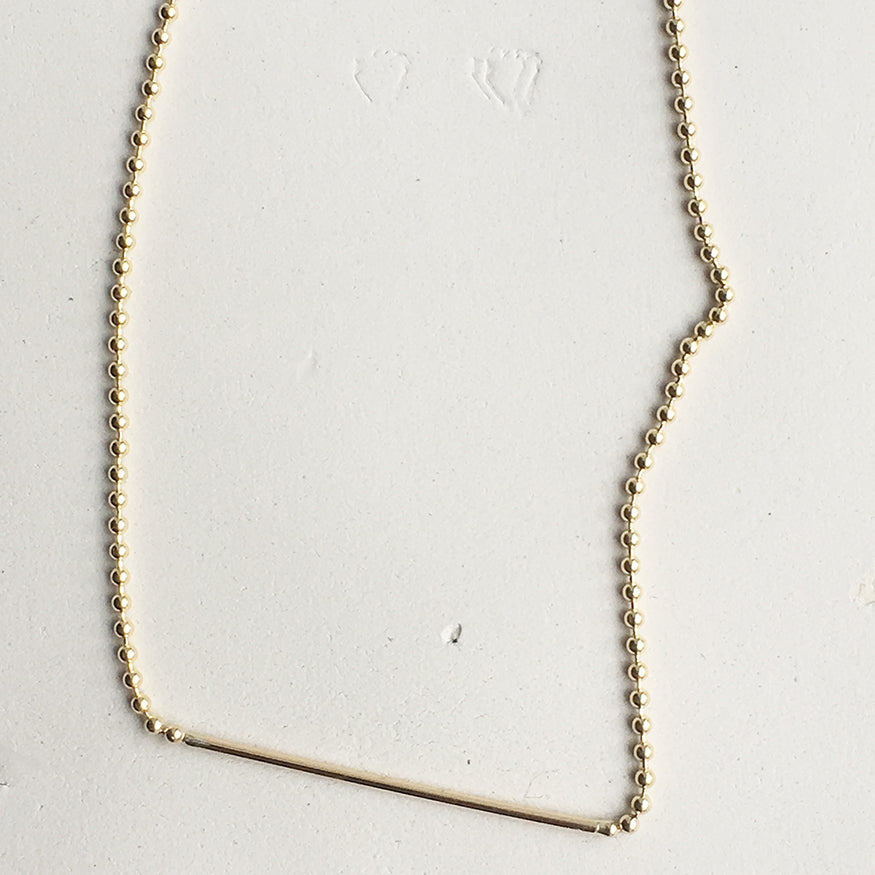 Ball Chain Bar Gold Necklace