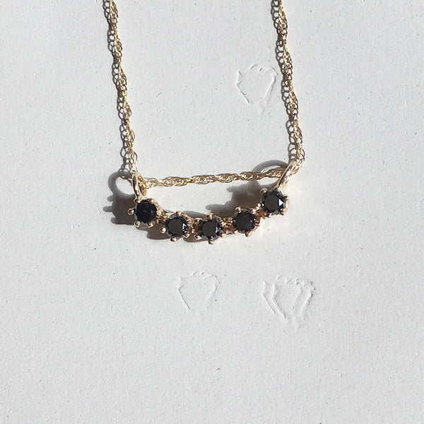 Majesty Curve Necklace Black Diamonds