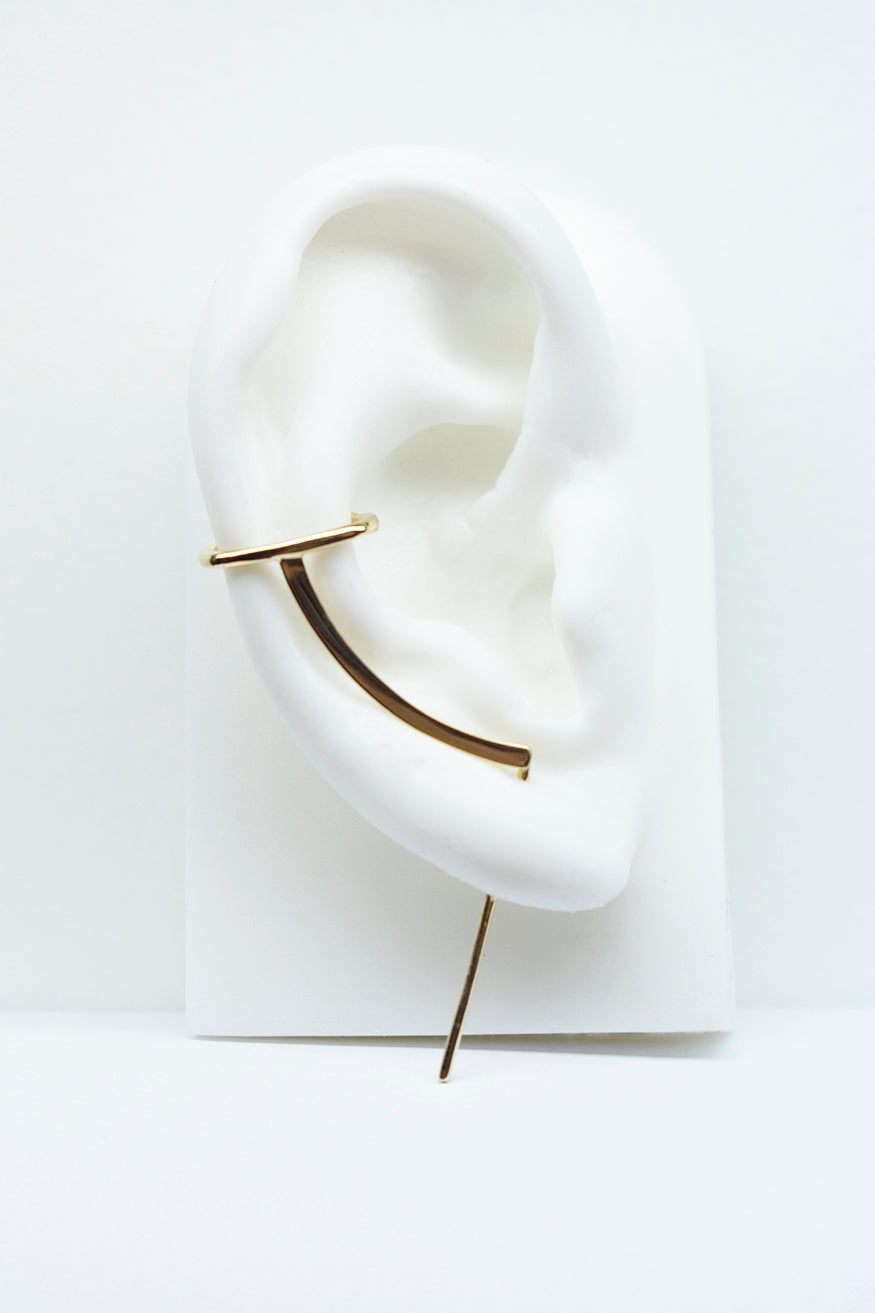 Mono Cuff Needle Gold Earring