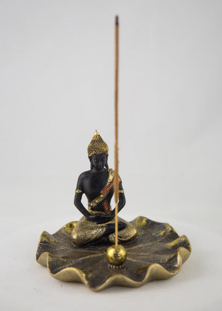 Buddha on Lotus Leaf Incense Holder