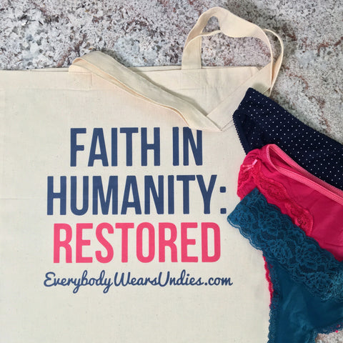 "Tote bag with words ""Faith in humanity: Restored"""