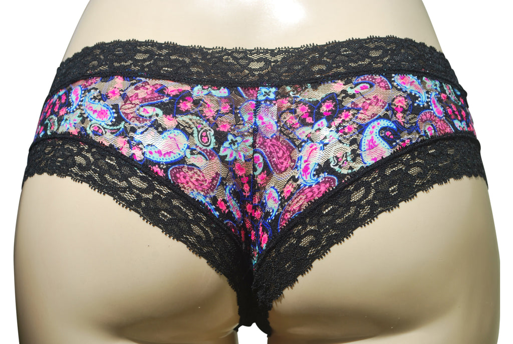 Britney — Black Lace with Multicolored Paisley
