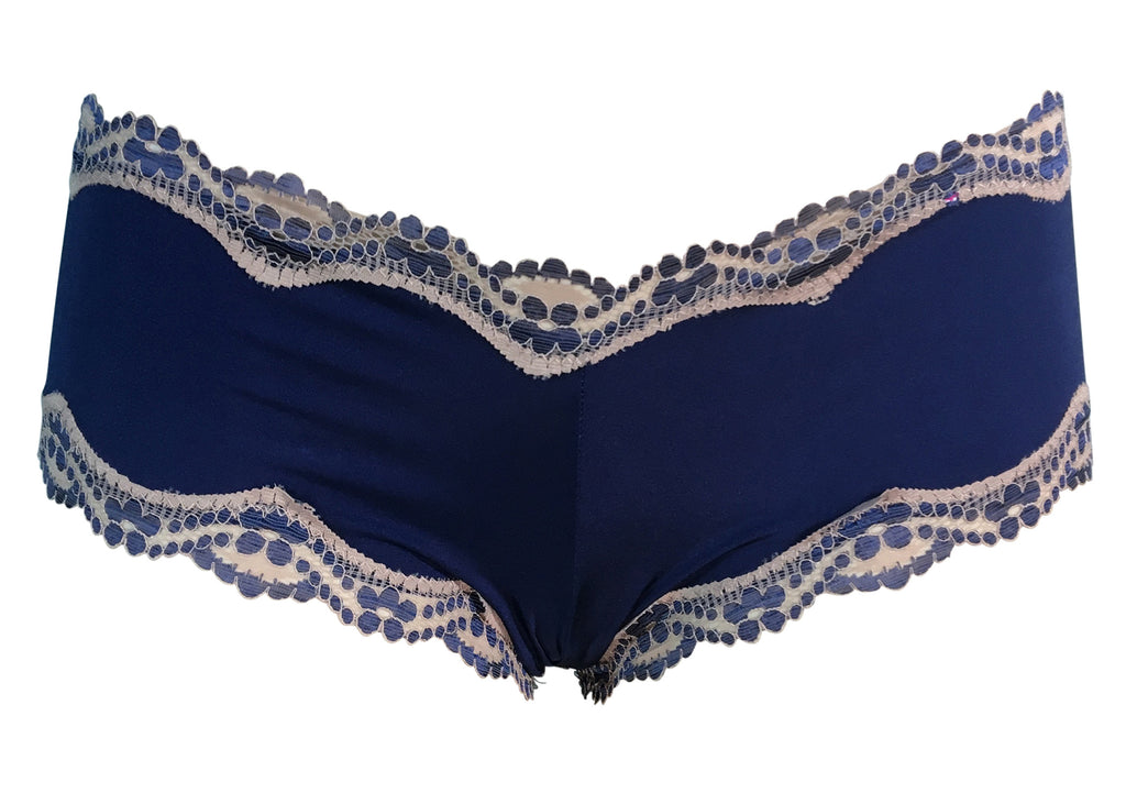 Navy polyblend hipster with beige lace trim women's underwear