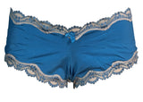 Bright blue polyblend hipster with beige lace trim women's underwear