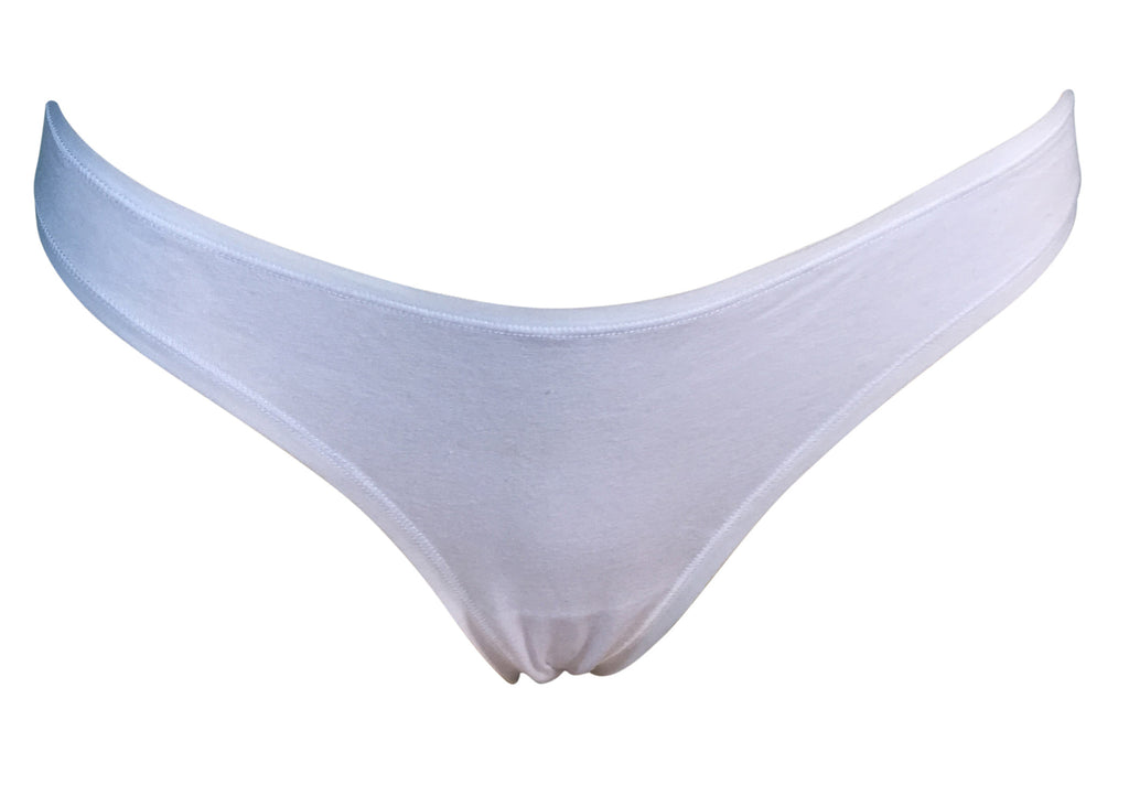 Basic white cotton thong