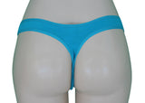 Bright blue teal cotton thong