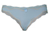 Light blue polyblend bikini women's underwear with beige lace trim