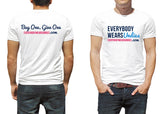 Soft cotton white t-shirt with everybody wears undies logo on front and buy one give one on back