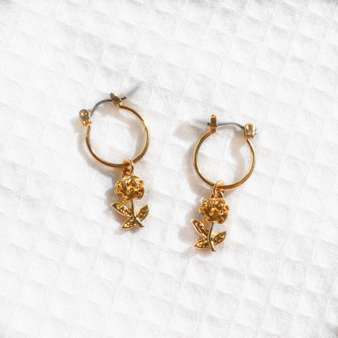 Gold Rose Hoops