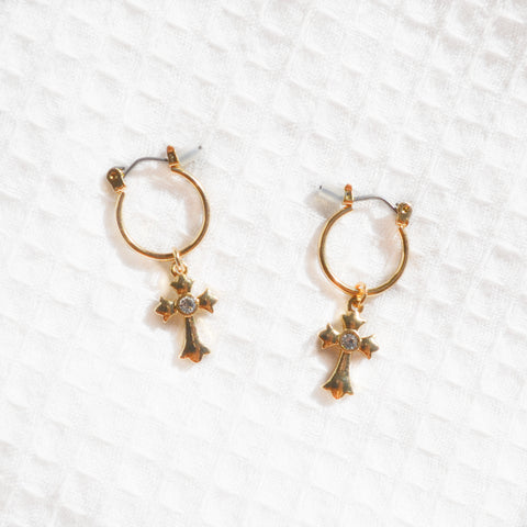 Gold Cross Hoops