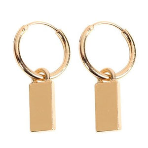 Gold Tag Hoops
