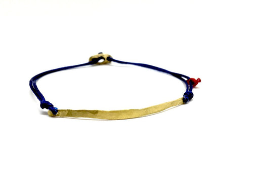 14 K single bar bracelet blue thread
