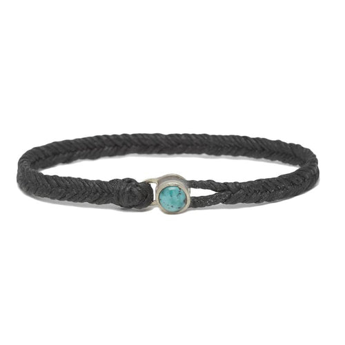 Classic Fishtail Turquoise Button in Silver and Black