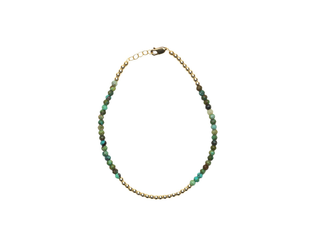 2MM Yellow Gold Filled Anklet With Arizona Turquoise