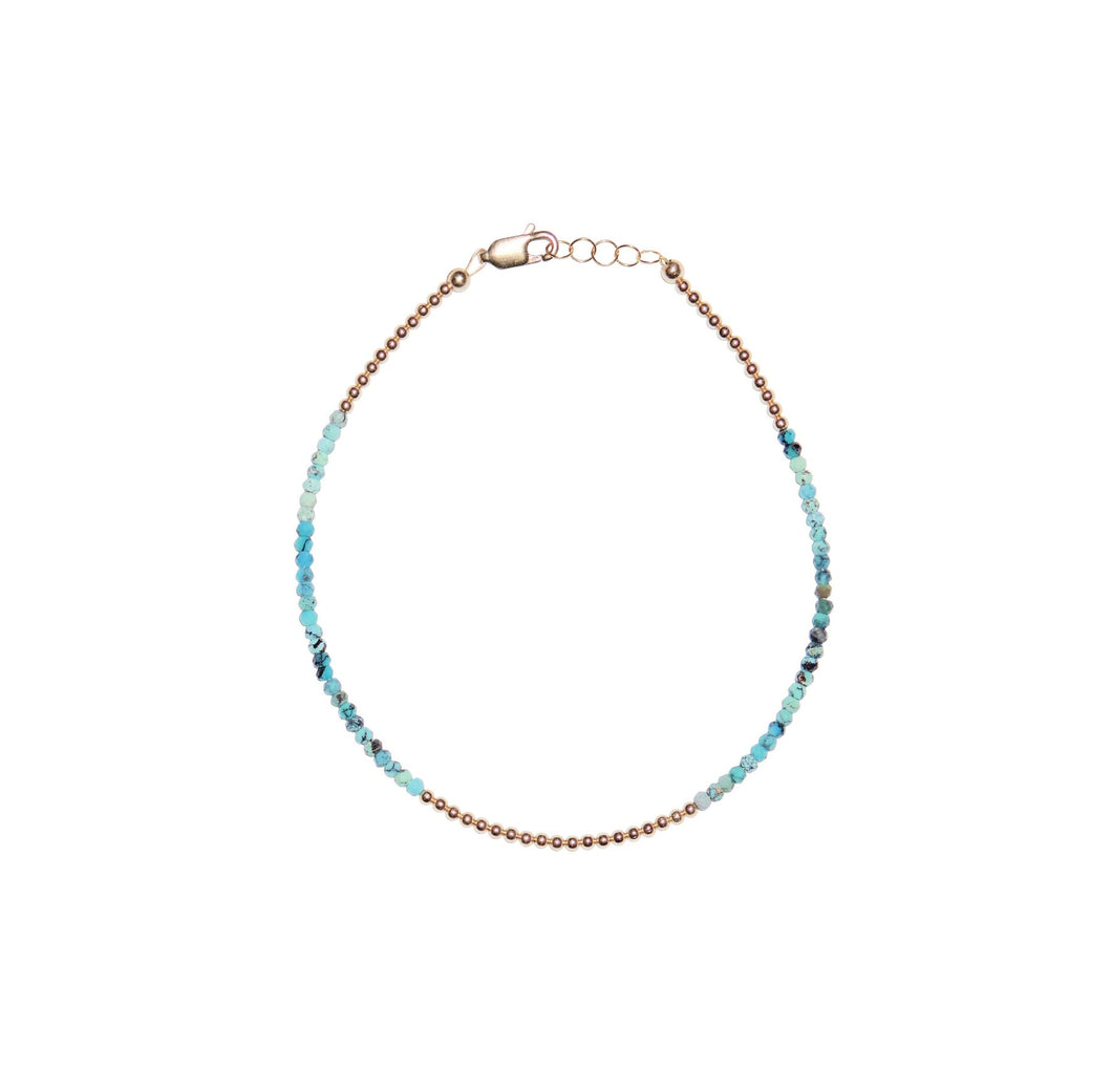 2MM Yellow Gold Filled Anklet With Mixed Turquoise