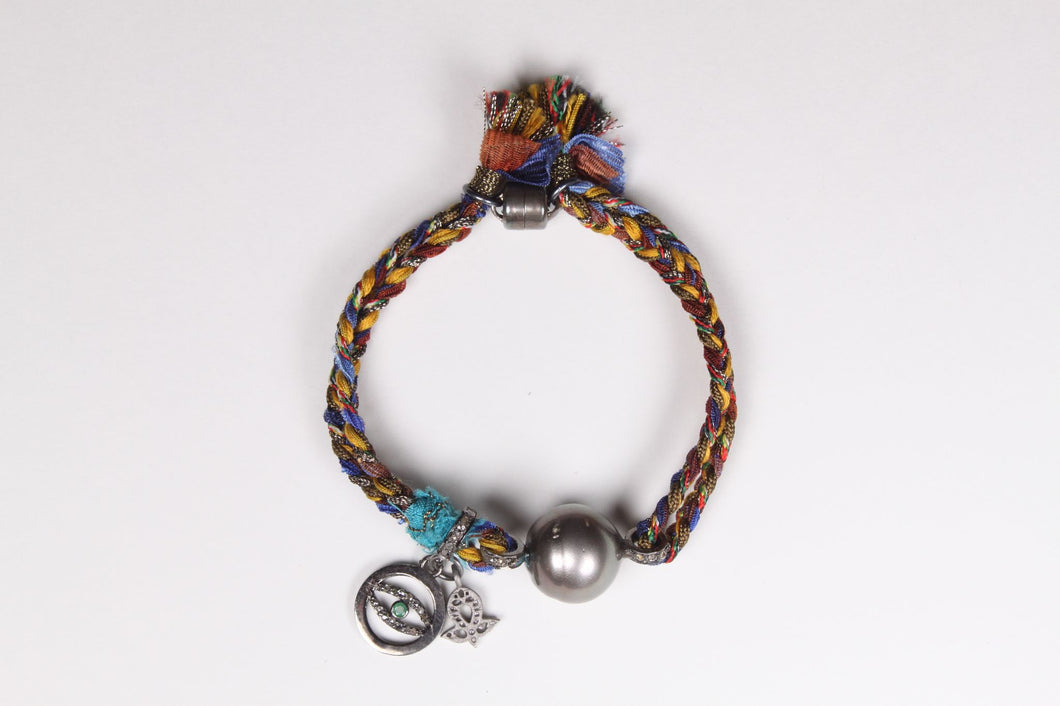 Tahitian Pearl and Evil Eye Bracelet with Magnetic Clasp.