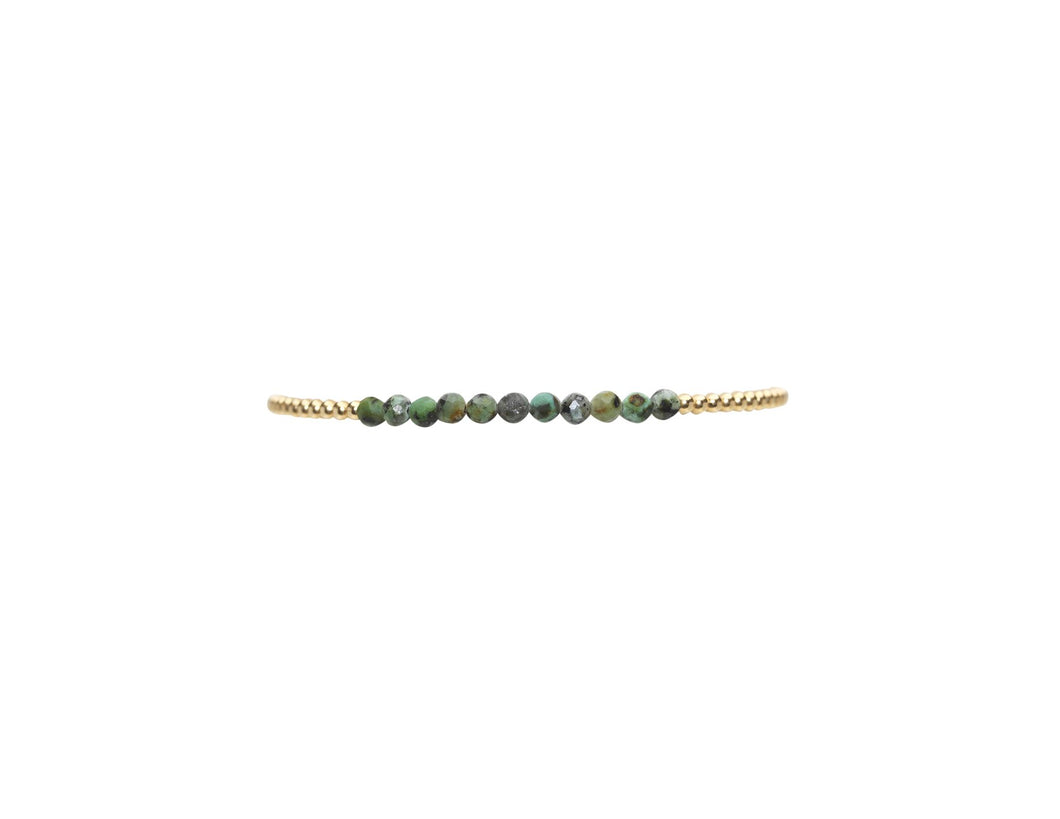 2mm yellow gold filled bracelet with African turquoise
