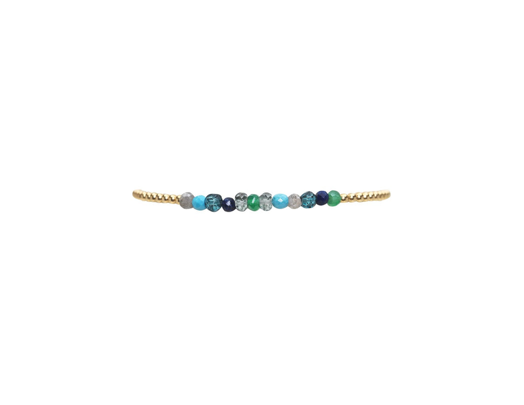 2mm yellow gold filled bracelet with blue festival