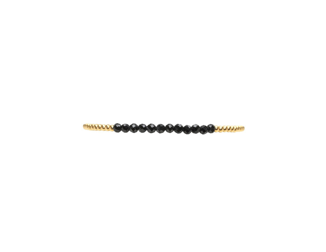 2mm Yellow Gold with Black Spinel Beads