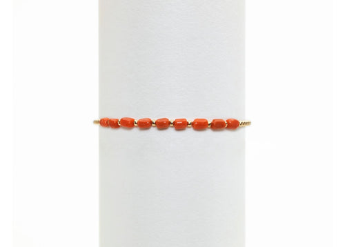 2mm yellow gold filled bracelet with coral pattern