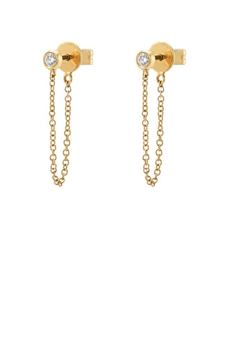 Bezel Diamond Stud Chain Earring