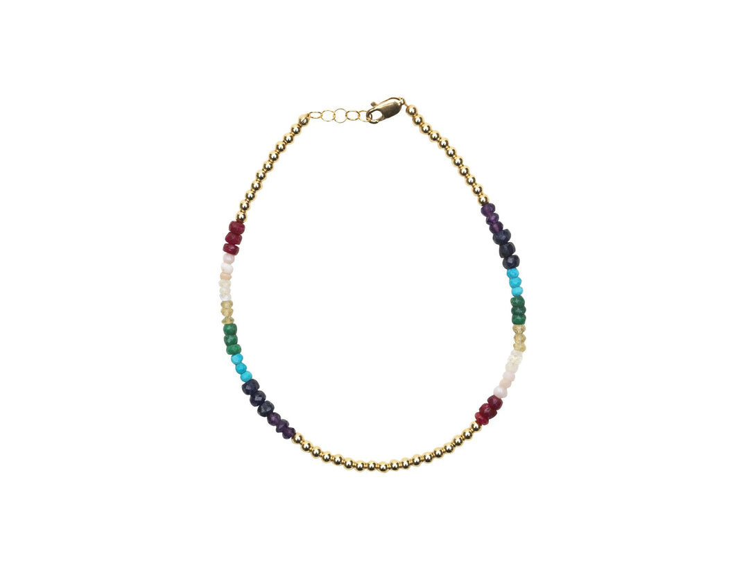 3mm Yellow Gold Filled Anklet with Rainbow Beads