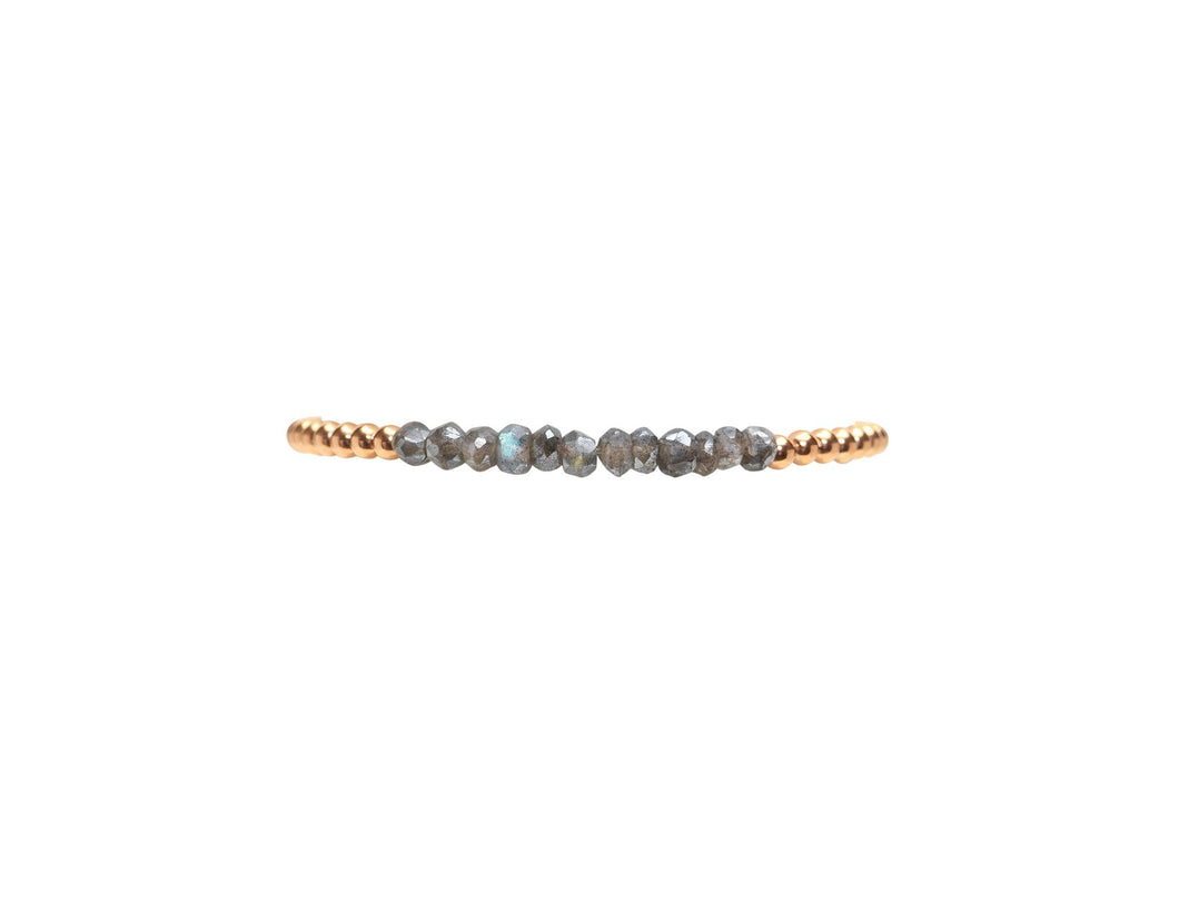 3mm Rose Gold with Labradorite Beads