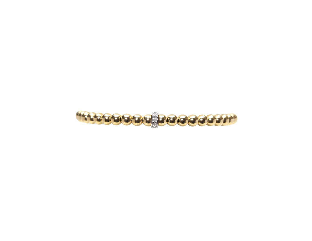 3mm Gold Bracelet with Diamond Rondelle