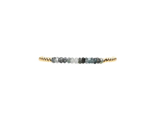 3mm Yellow Gold Filled Bracelet with Moss Aqua Gemstones