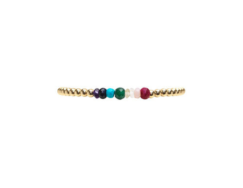 3mm yellow gold filled bracelet with  Rainbow semi precious stones