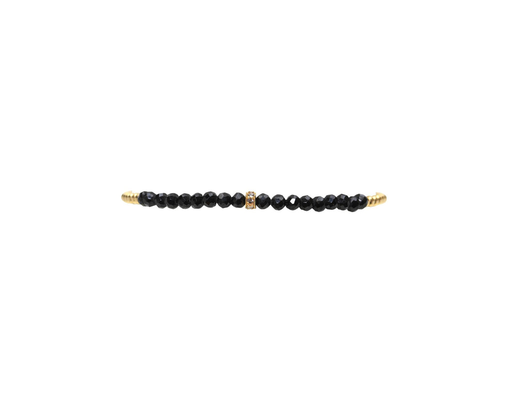 2mm Gold Filled Bracelet with Spinel and Diamond Rondel