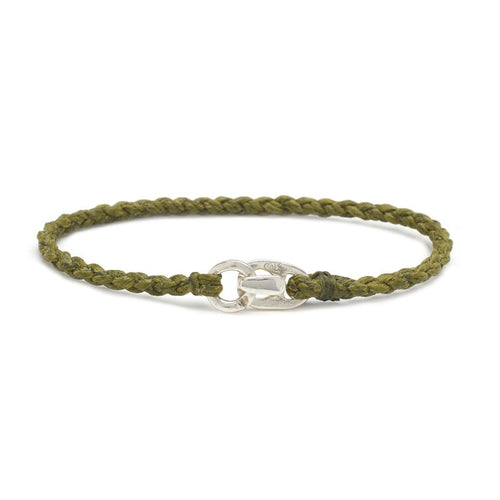 Single Wrap Bracelet in Silver and Olive