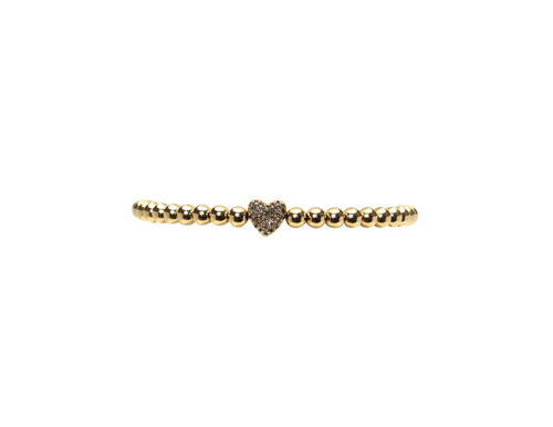 4mm Yellow Gold Bracelet with Diamond Heart Bead