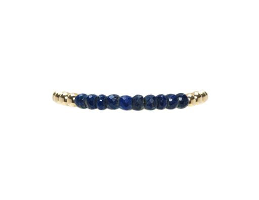 5mm Yellow Gold Filled Bracelet with Lapis