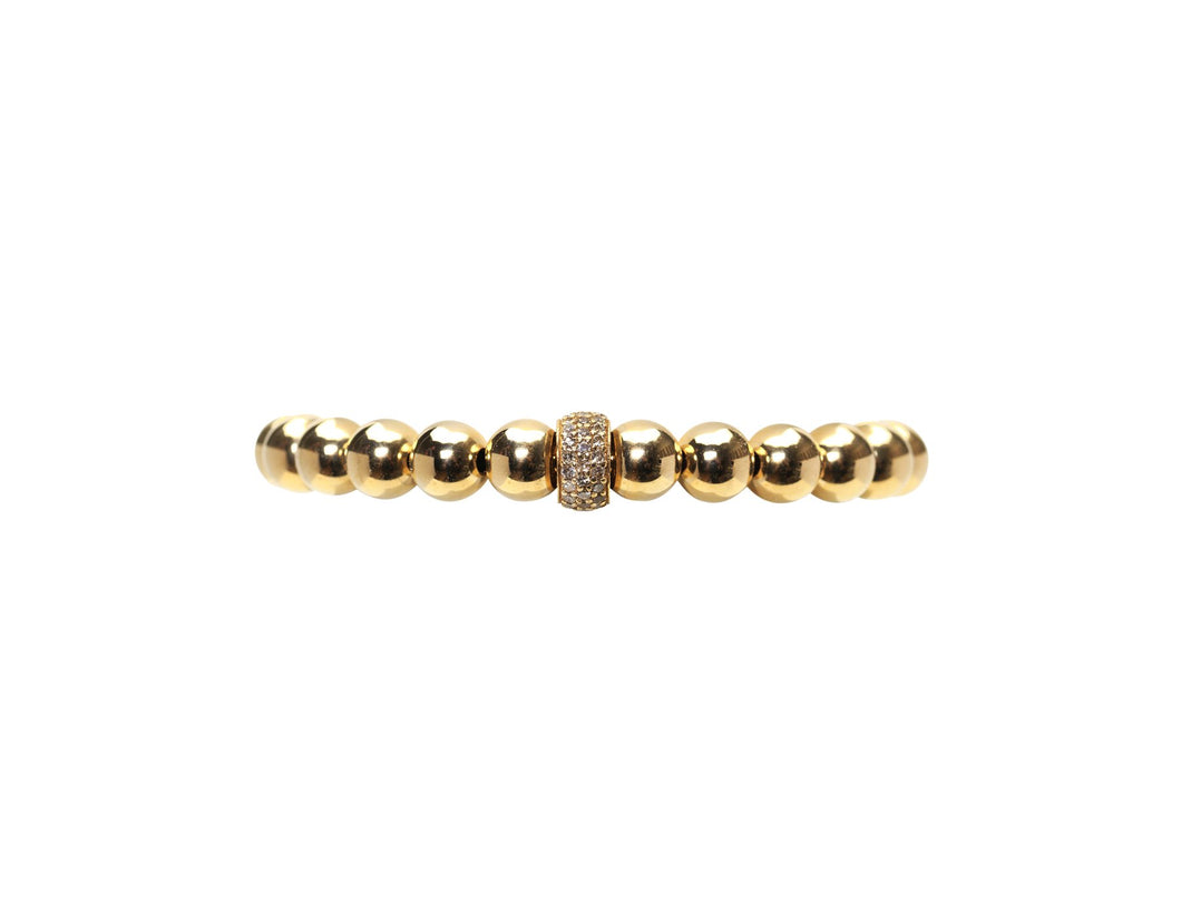 7mm Yellow Gold Filled Bracelet with Diamond Rondel