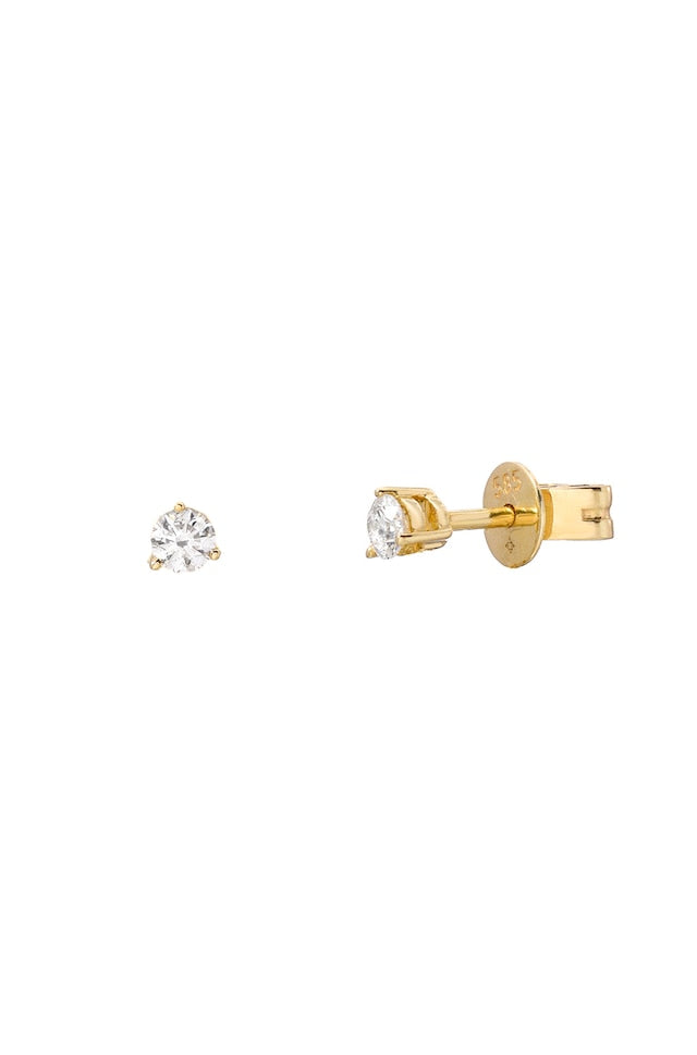 Three Prong Diamond Earring Stud