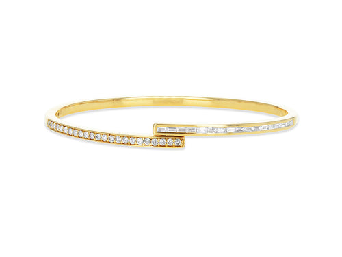 Baguette and Round Diamond bypass bangle
