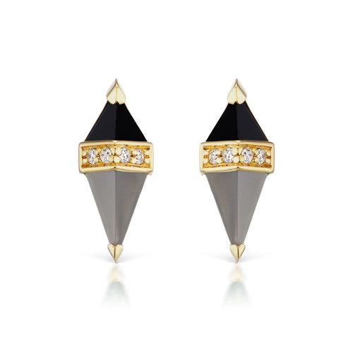 Black Onyx with Grey Moonstone pieta studs