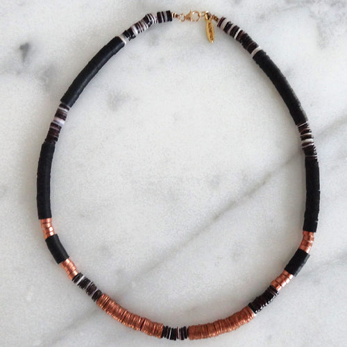 Heishi Black & Copper Necklace