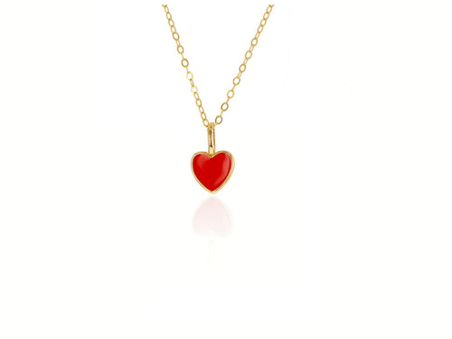 Mini Red Enamel Heart Charm
