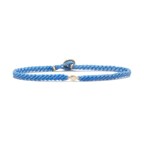 Classic Sky Blue woven bracelet with diamond